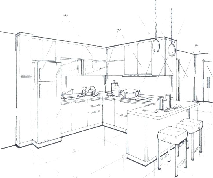 736x616 House Interior Drawing Drawn Room Kitchen Room 3 House Interior