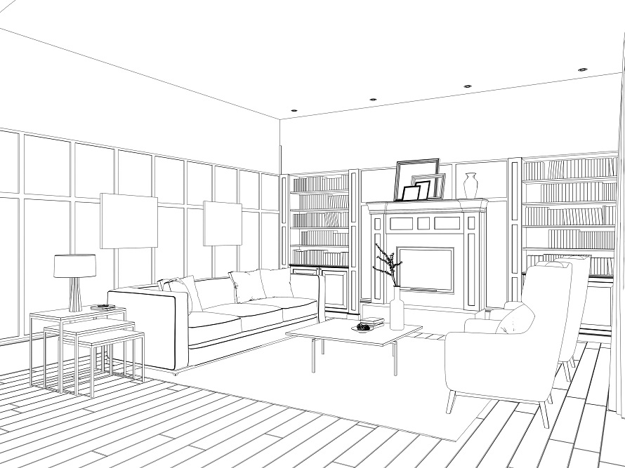 890x667 Living Room Drawing