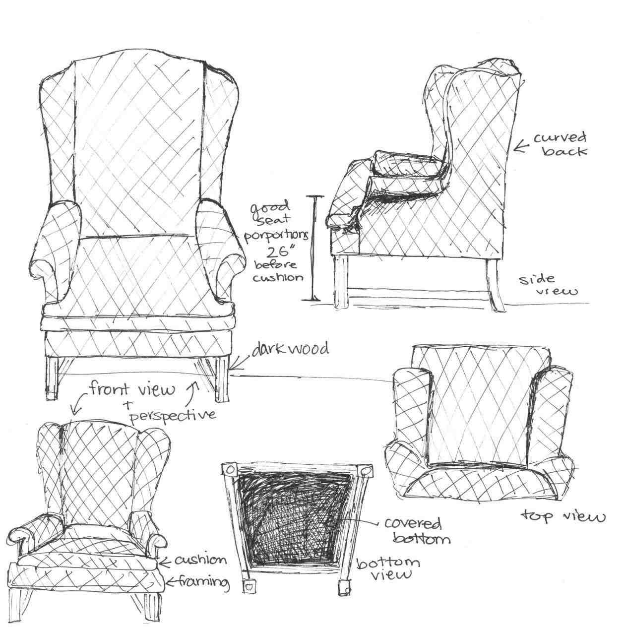 Charmant 1260x1264 Furniture Sketches Interior Design
