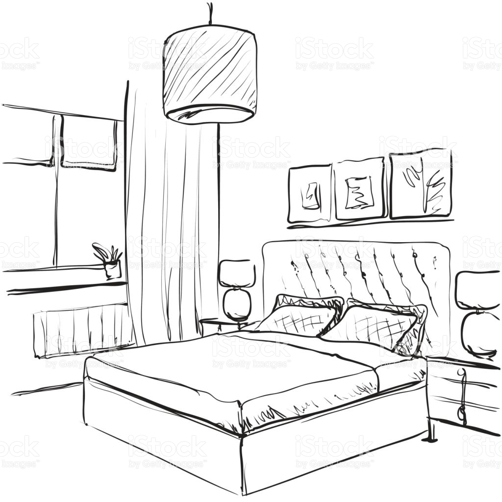 1024x1024 Bedroom Drawing Of Bedroom Point View Room In Drawings Fromh