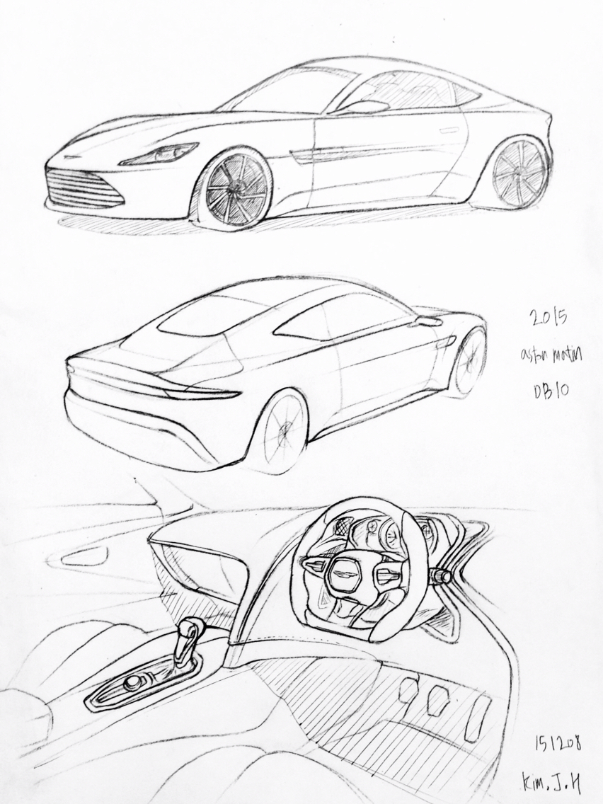 852x1136 Car Drawing 151207 2015 Astonmatin Db10 Prisma On Paper. Kim.j.h