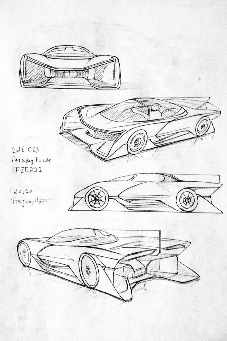 756x1136 Car Drawing 160120. 2016 Faraday Future Ffzero1. Prisma On Paper