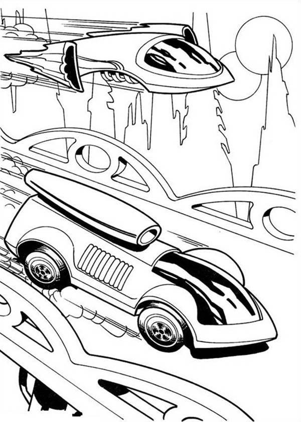 600x840 Hot Wheels Futuristic Design Car Race Jet Plane Coloring Page