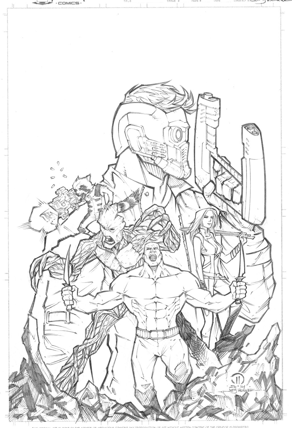 1024x1500 Guardians Of The Galaxy Pencils By Joey Vazquez Marvel