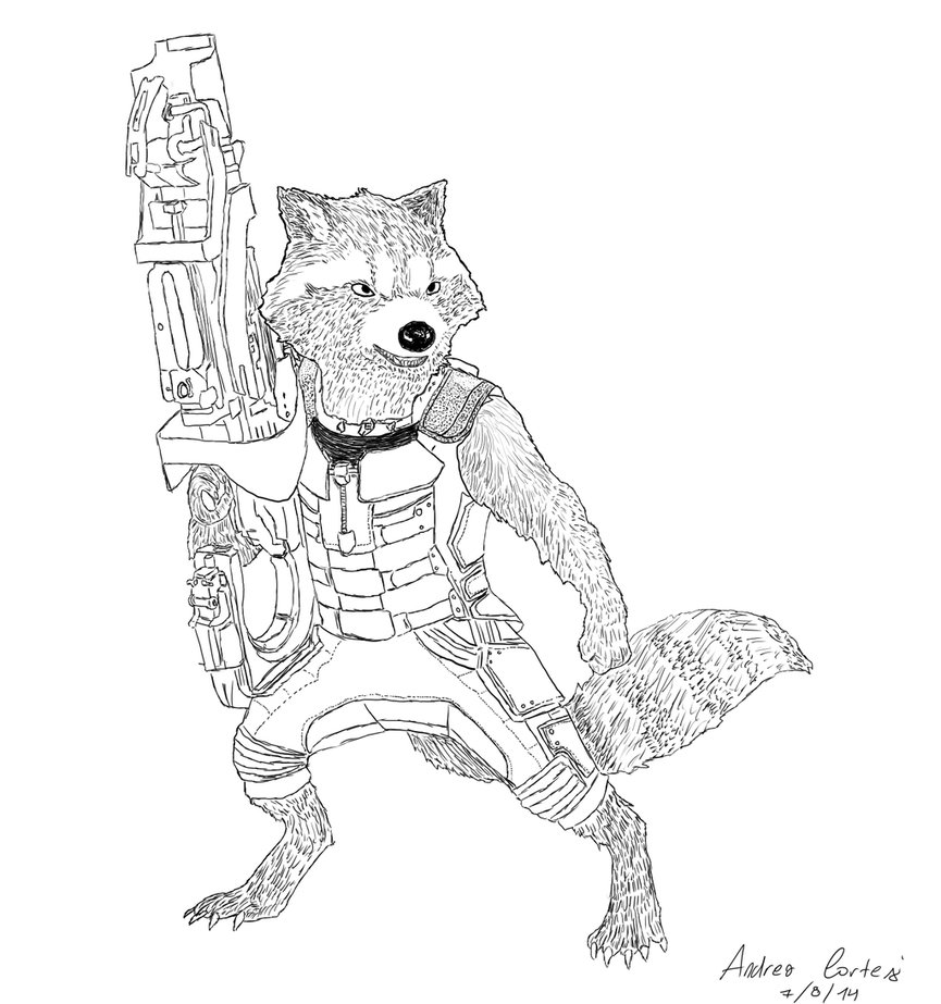 865x923 Rocket Racoon (Guardians Of The Galaxy) By Peabody1999
