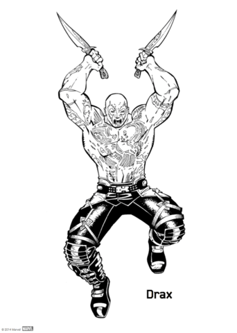 342x480 Drax From Guardians Of The Galaxy Coloring Page Free Printable