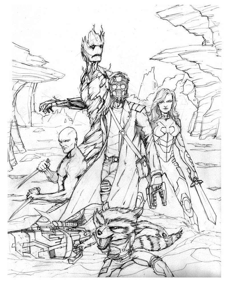 803x994 Guardians Of The Galaxy (Pencil) By Hawkdraws
