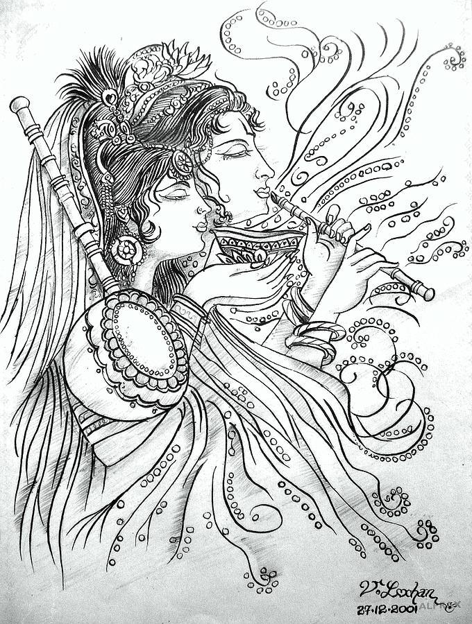 680x900 Radha Krishna Painting By Lochan Venna