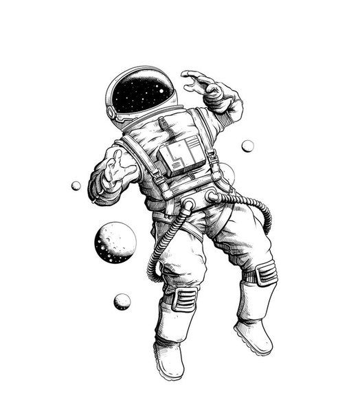 508x604 Galaxy And Astronaut Ilustrations Astronauts