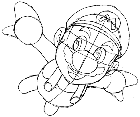 450x378 How To Draw Mario Flying From Super Mario Galaxy Drawing Tutorial