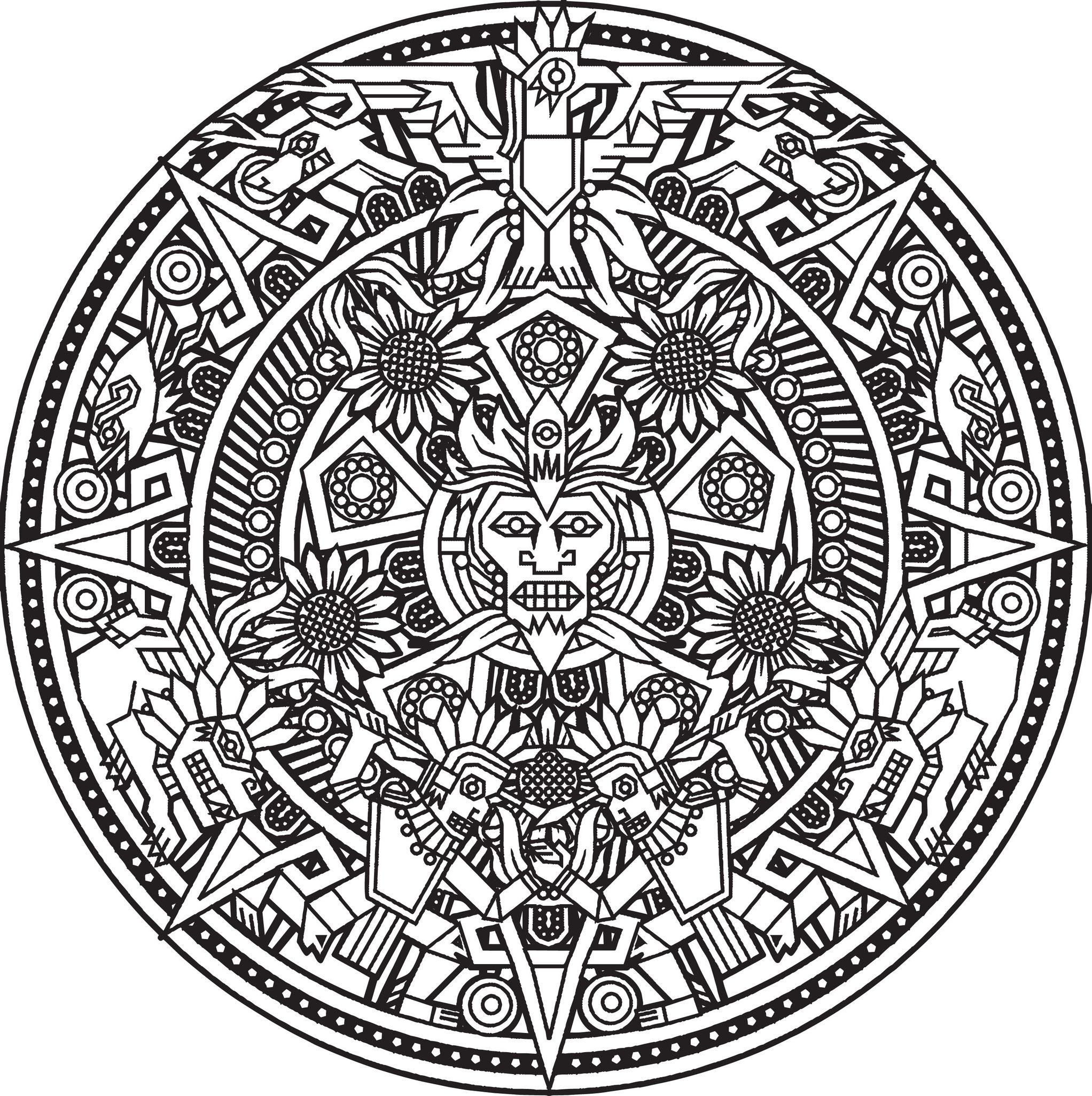 2044x2052 Mandala Inspired By Inca, Maya And Aztec Art, From The Gallery