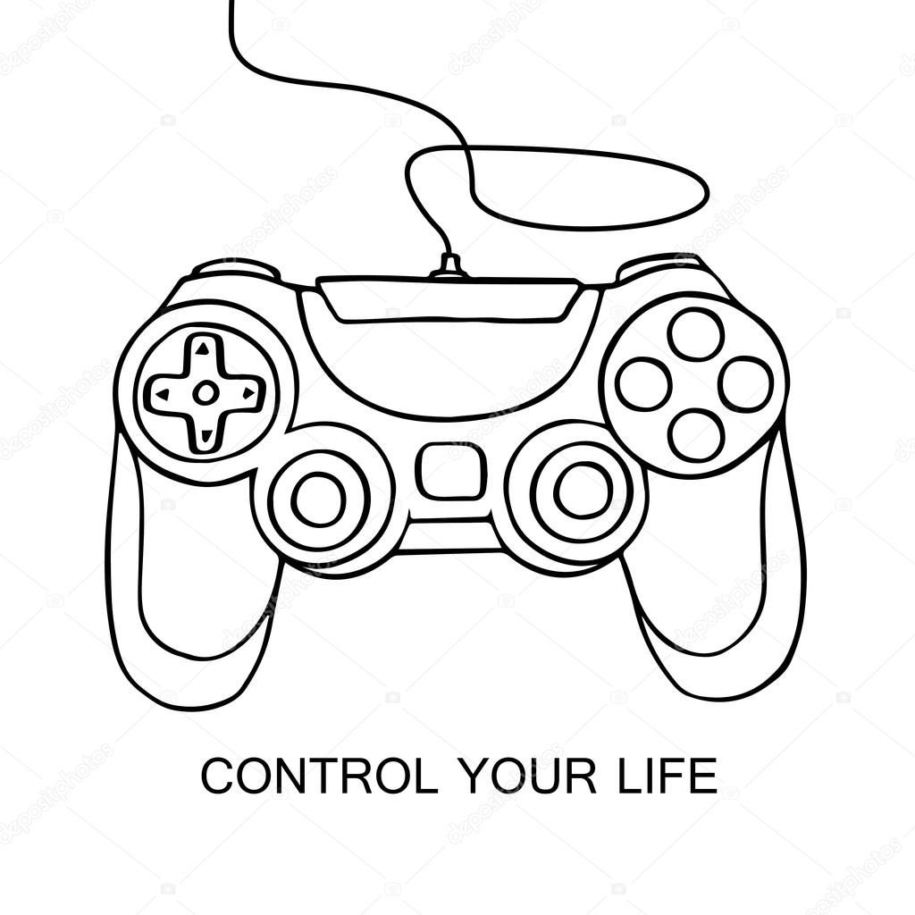 1024x1024 Gamepad Sketch Icon. Hand Drawn Vector Illustration Isolated