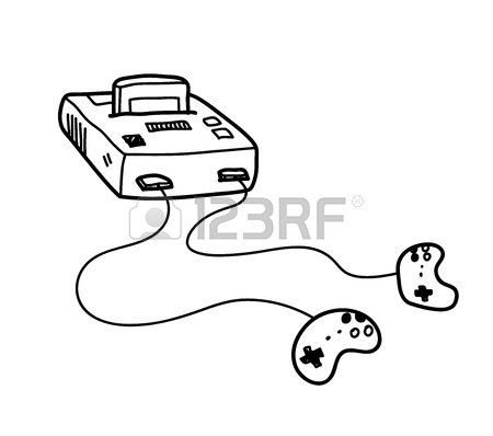 450x398 Classic Video Game Console Doodle, A Hand Drawn Vector Doodle