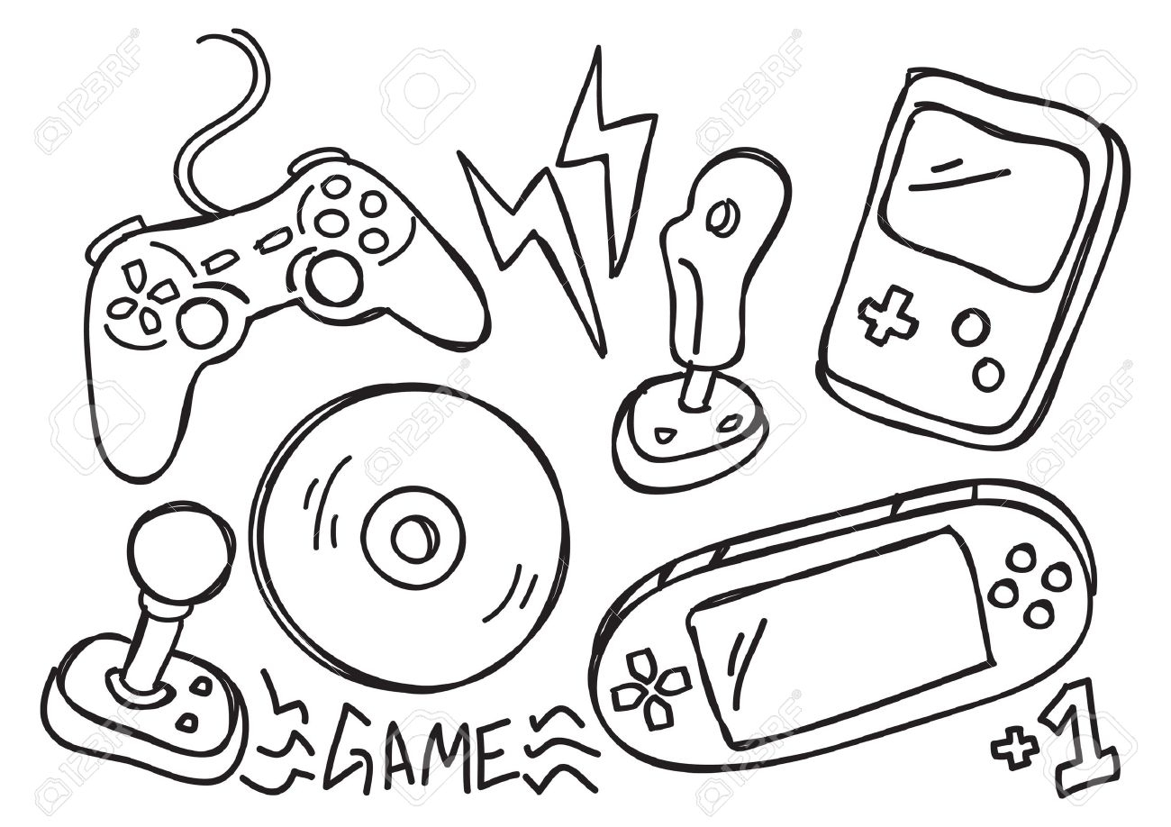 1300x918 Doodle Drawing Games Game Console Doodle Royalty Free Cliparts