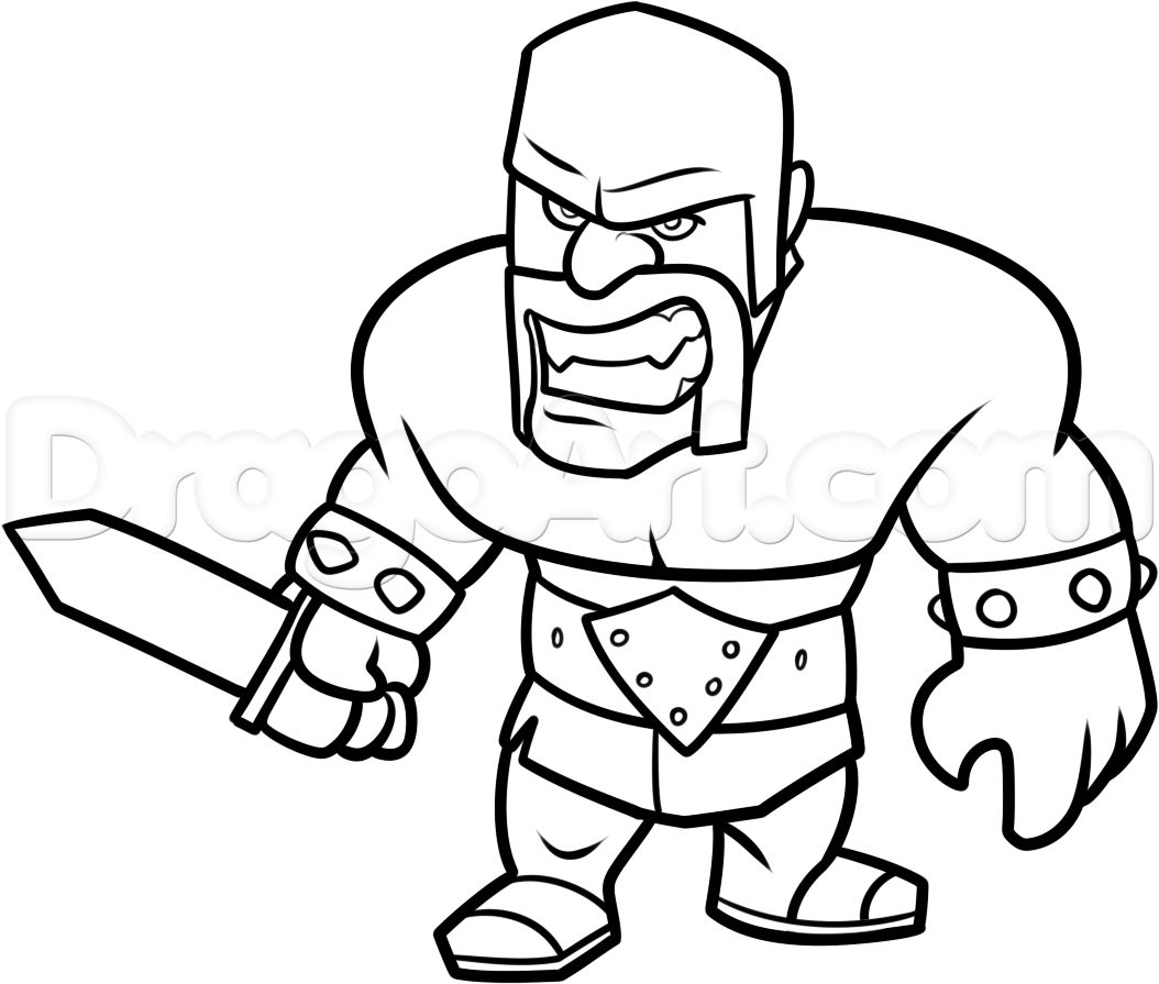 1054x895 Clash Of Clans Drawings How To Draw Clash Of Clans Barbarian