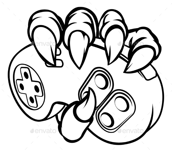 590x523 Monster Or Animal Claws Holding Games Controller By Krisdog