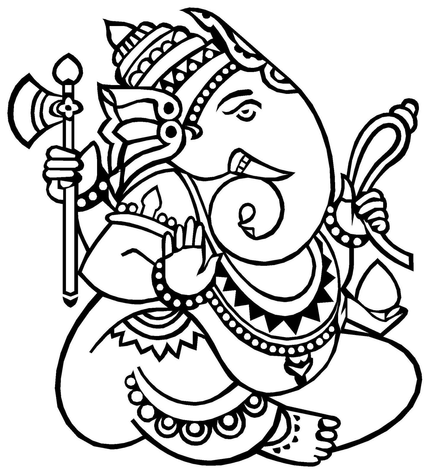 1456x1600 Simple Drawing Of Lord Ganesha Ganesh Ji Drawing For Kids