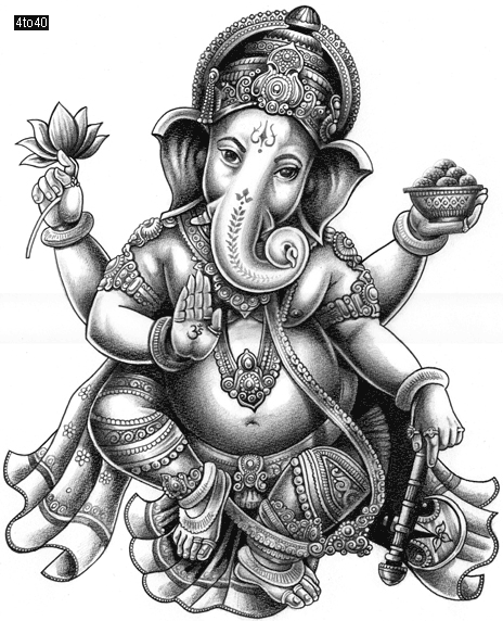 464x572 Trace And Draw Lord Ganesha