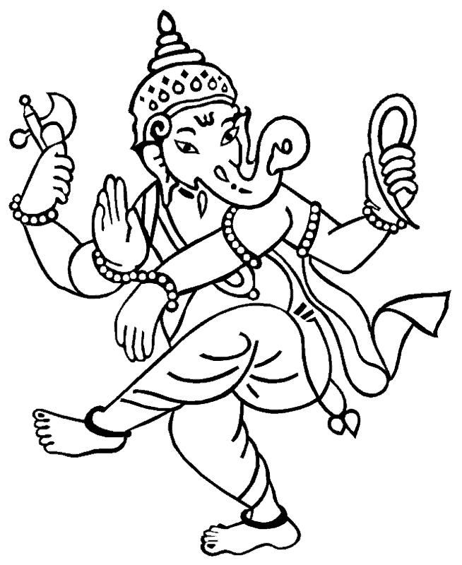 654x800 Coloring Pages Hindu Gods Ganesha Drawings All About India