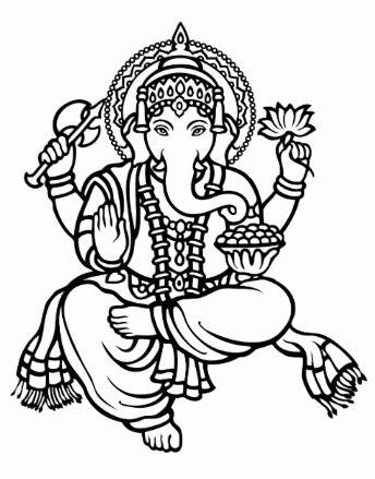 344x439 Fresh Black And White Images Of Lord Ganesha Ganesh Drawing