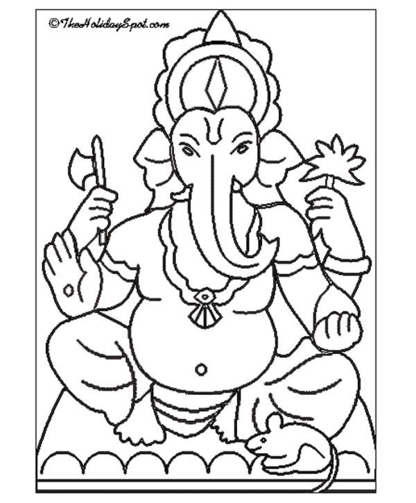 Ganesh drawing outline at free for for Ganesha coloring pages