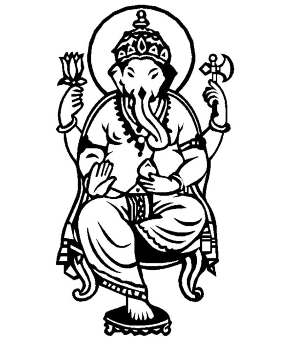 600x707 Ganesh Coloring Pages