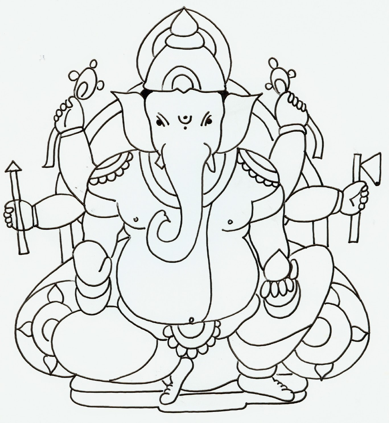 1367x1484 Ganpati Drawing With Colour How To Draw Lord Ganesha Color Drawing