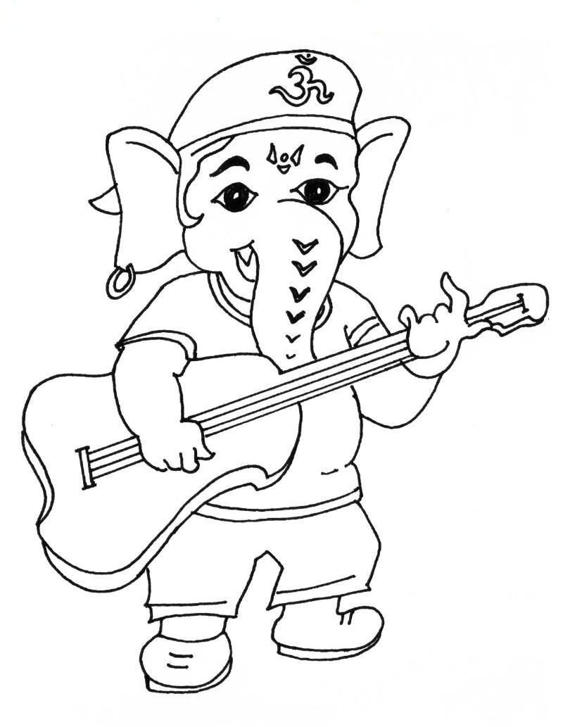 800x1033 Bal Ganesha Sketch Simple Ganesh Chaturthi Coloring Pages