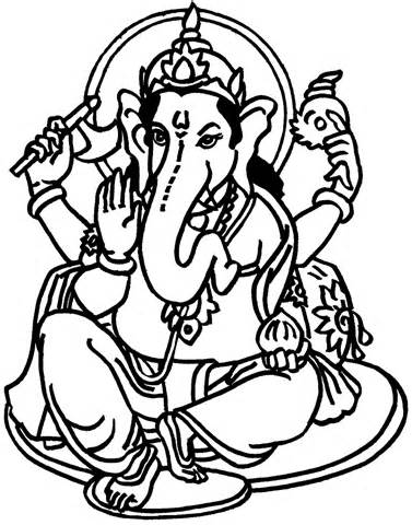377x480 Lord Ganesha Coloring Pages Sketch Template Stencil