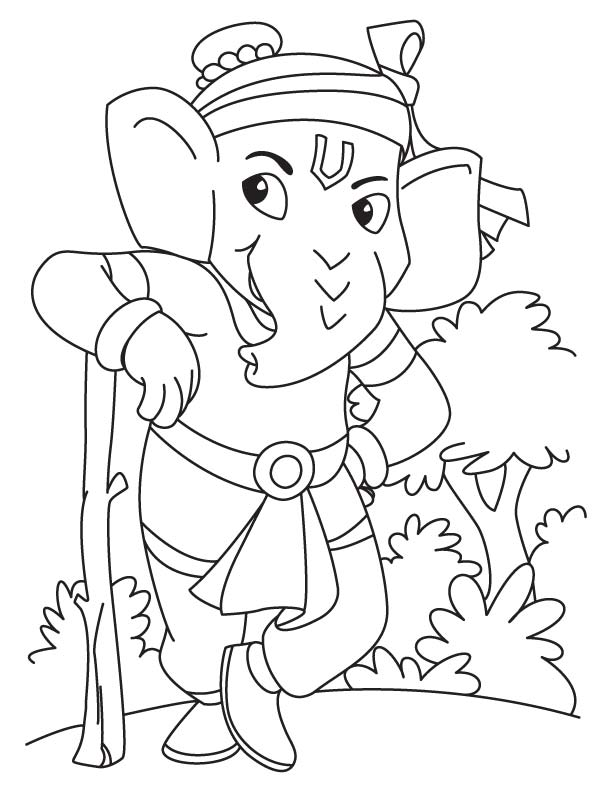 612x792 Lord Ganesha Standing Coloring Page Download Free Lord Ganesha