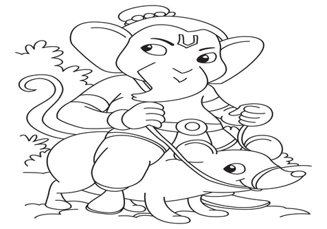 476x333 Simple Ganesha Coloring Drawing For Kids Best Pages