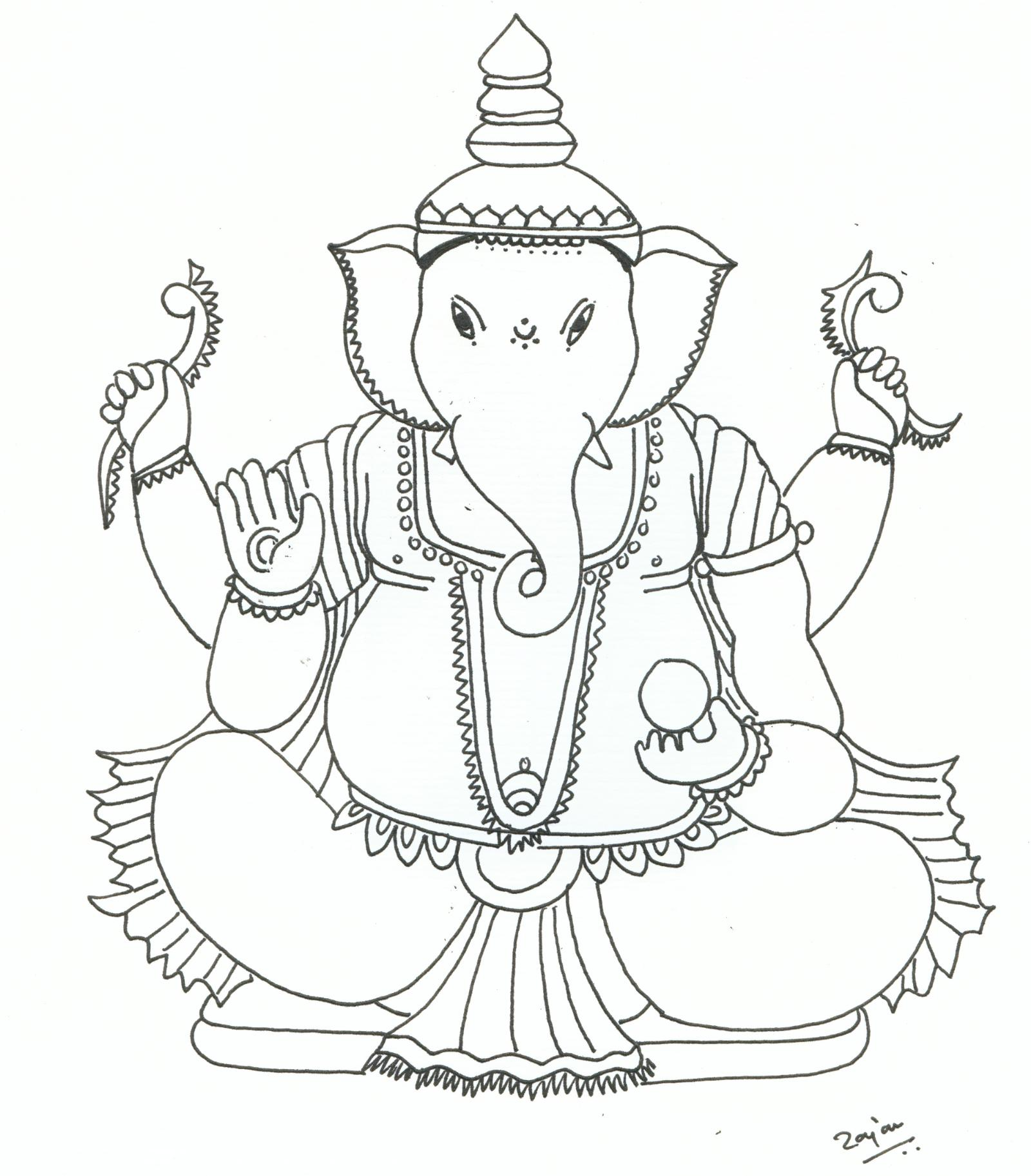 1600x1826 Ganpati Coloring Pages