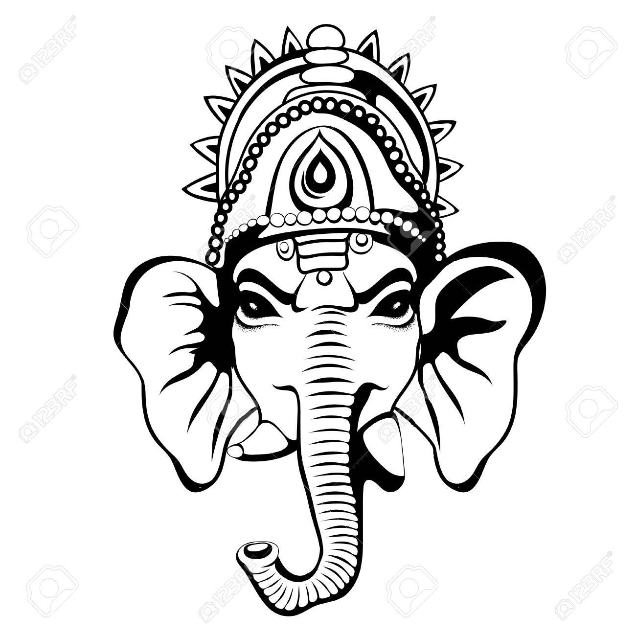1300x1300 Lord Ganesha Portrait Sketch On A Background. Vector Royalty Free