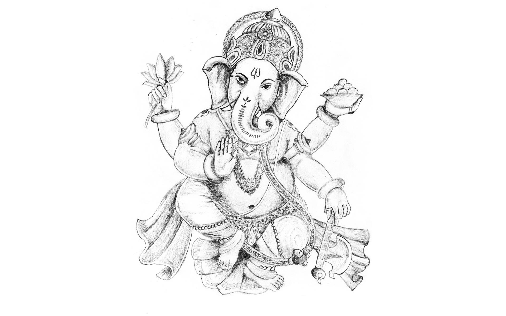 1920x1200 Lord Ganesha Sketch