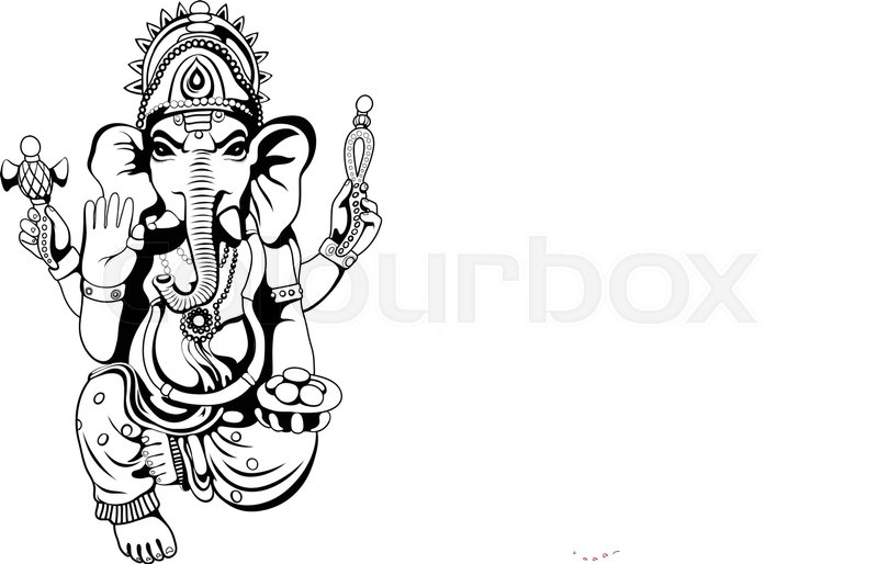 800x514 Lord Ganesha Sketch On A Background. Vector Eps 10 Stock Vector