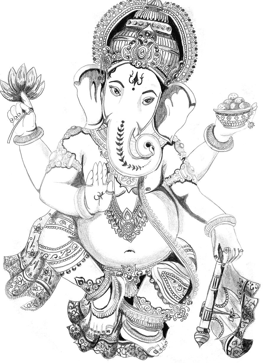900x1226 Pencil Artist Line All Ganpati Hd Image Ganapati Ji Pencil Sketch