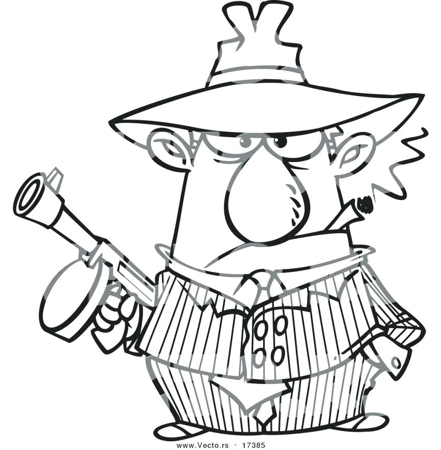 863x880 Gangster Spongebob Coloring Pages Vector Of A Cartoon Gangster