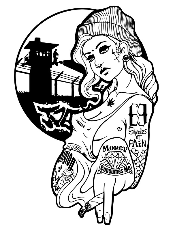 600x800 Gangsta Girl Stickers By Nikucis Redbubble