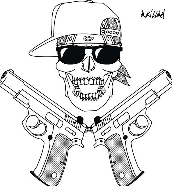 591x640 My Gangsta Skull 2 Gangster Tattoos, Tattoo Drawings And Drawings
