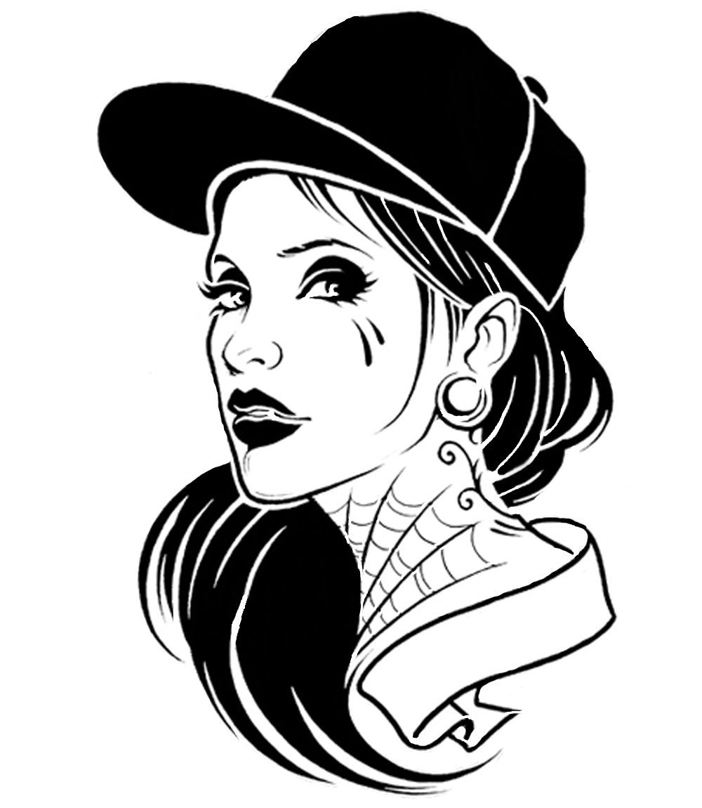 1000x1150 Stencil Art Gangsta Girl Fatal Girl Design By Kstarratsk