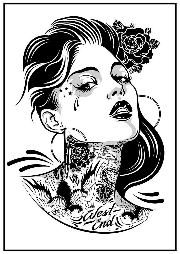 754x1059 Stencil Art Gangsta Girl Pin Up Girl Tattoo Designs Madscar