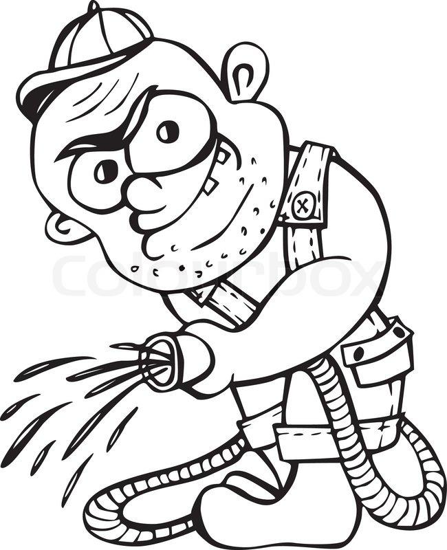 650x800 Gangster Gardener. Black And White Vector Illustration In Cartoon