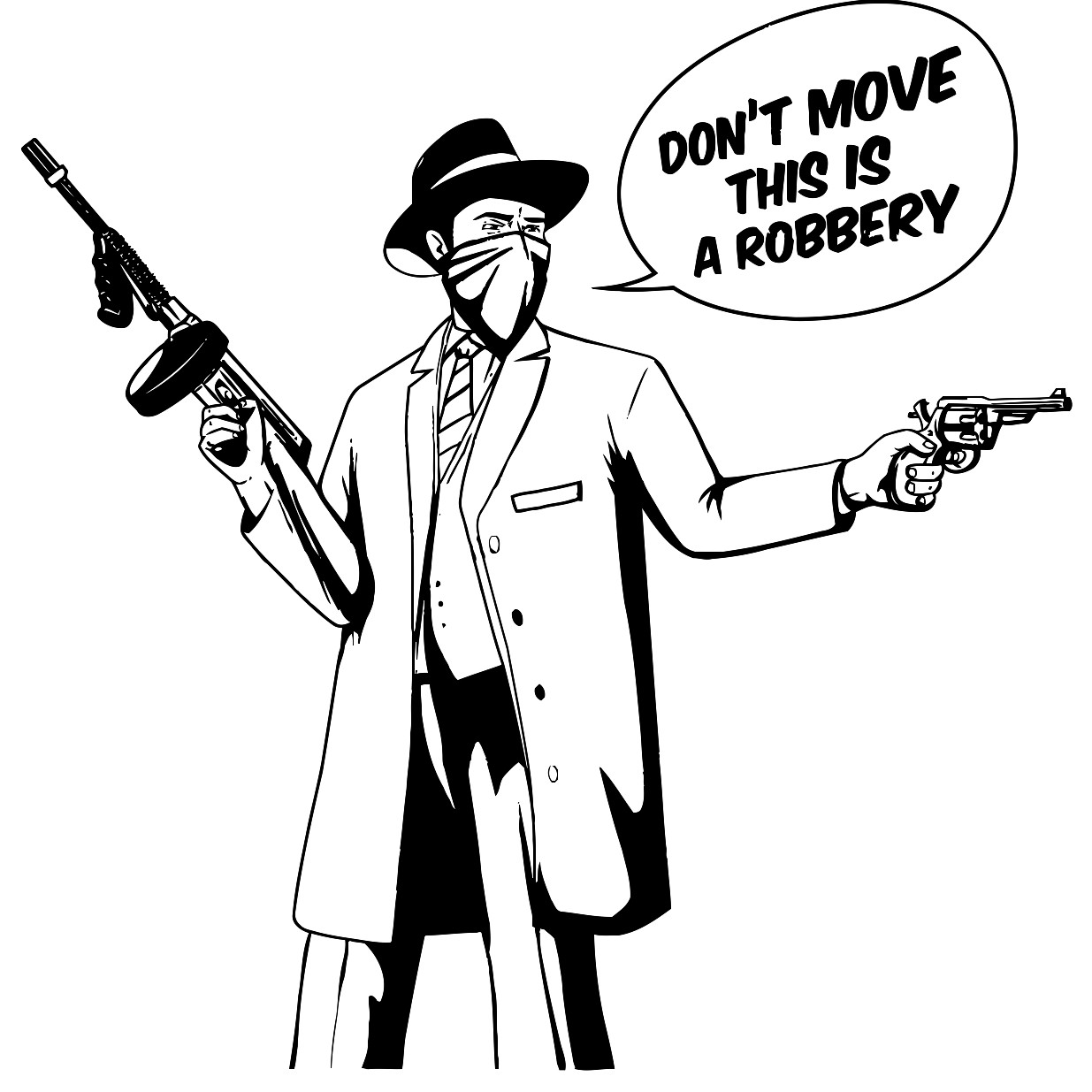 1235x1235 Gangster With Gun Robbery Pop Art Printable Image Illustration