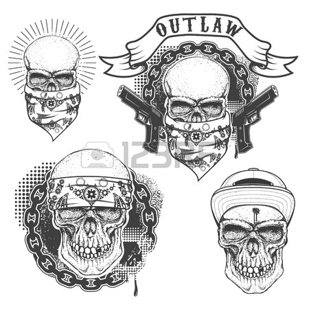 450x450 Set Of Gangster Tattoo. Hand Drawn Skull With Bandana. Skull