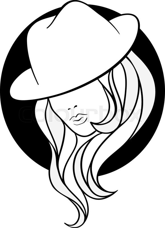 580x800 Young Girl In A Vintage Gangster Hat On Blaack Round Background