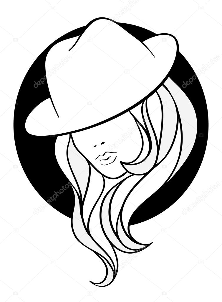 754x1024 Young Girl In A Vintage Gangster Hat Stock Vector Ivanchuk