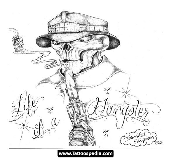 589x540 Collection Of Few Gangsta Tattoo Designs