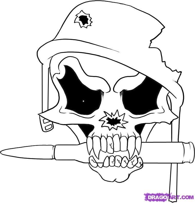760x788 Drawn Soldier Skull