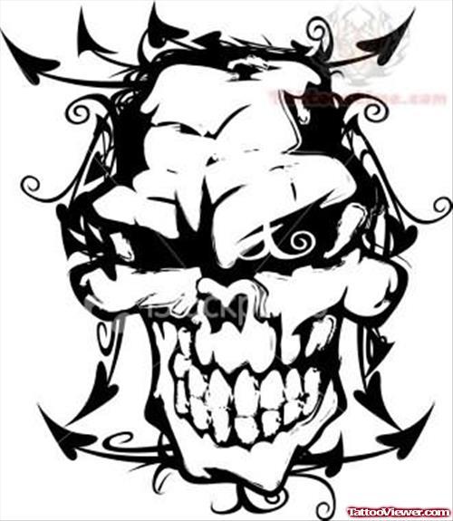 500x575 Gangster Skull Tattoo Tattoo