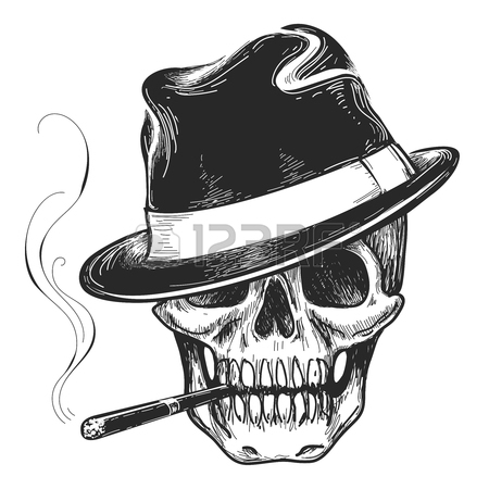 450x450 Gangster Skull Tattoo. Death Head With Cigar And Hat Vector